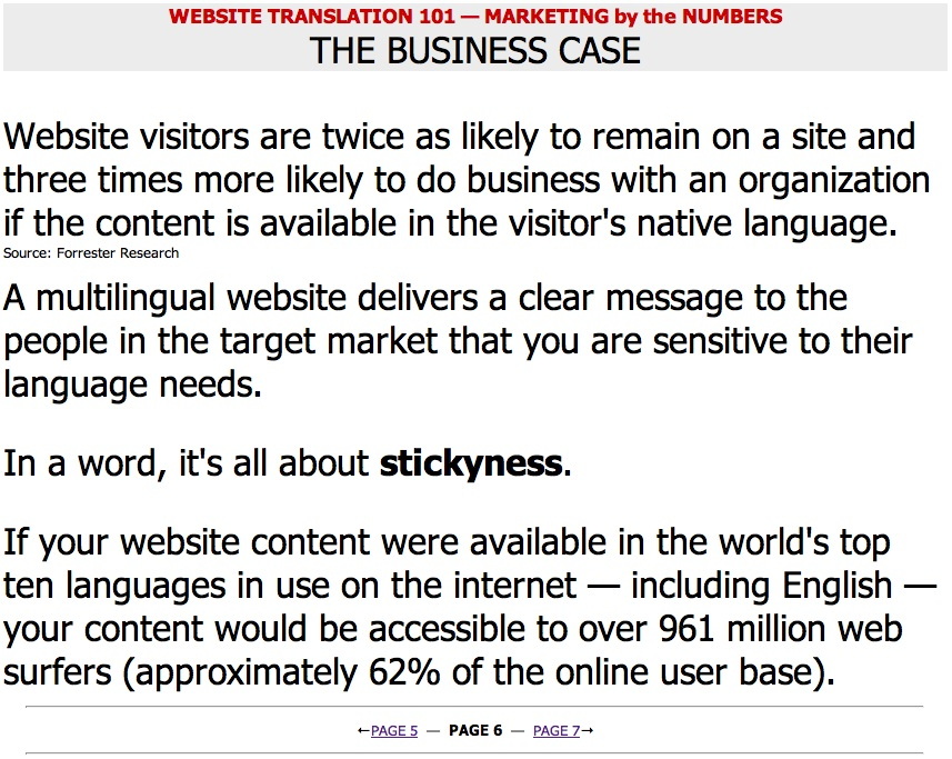 Website Translation 101 — Marketing by the Numbers — Page 06